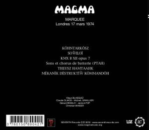 Marquee - Londres 17 Mars 1974 (cover 2)
